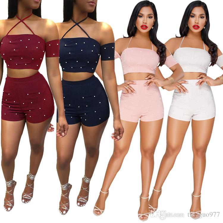 e1c1facfb9 2019 Beading Women Shorts Sets Off Shoulder Halter Neck Crop Top Two Piece  Outfit S XXL From Tinaguo977, $12.22 | DHgate.Com