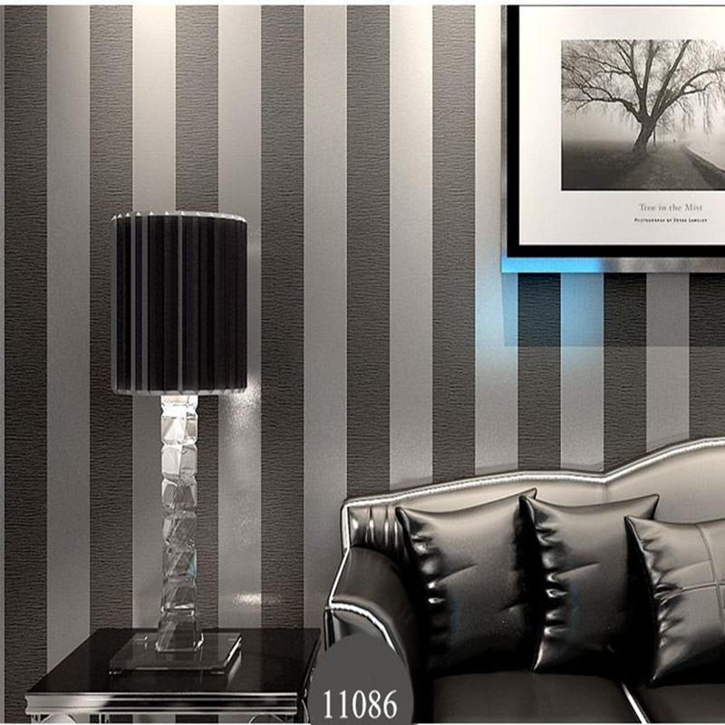Wholesale Modern Black Wallpaper Striped Purple And Silver