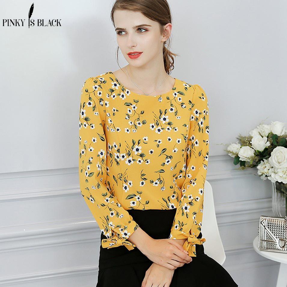 c1e564df285c1 2019 Pinky Is Black Chiffon Shirt Women Tie Sleeve Blouse Top Fashion  Vintage Floral Print Yellow Blouse Shirt Chemise Blusa Feminina From  Rykeri
