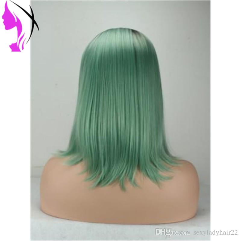Hot fashion Glueless Synthetic Lace Front Wigs Ombre green Short Bob Straight Synthetic Wigs for Black Women Heat Resistant