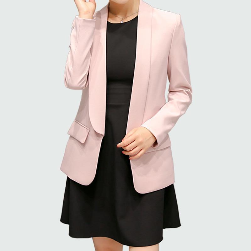 f366f83356 Acheter Femmes Blazer 2017 Nouveau Printemps Automne Dames Vestes Mince À  Manches Longues Caché Poitrine Plus La Taille Gris / Rose Foncé Blazer  Feminino De ...