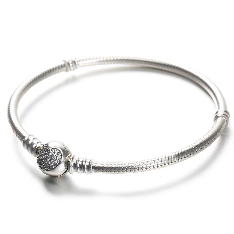 836bdc187 100% 925 Sterling Silver Womens Bracelets White CZ Micro Paved Heart  Bracelet With Box For Pandora Beads European Charms Charm Bracelet Watches  Wholesale ...
