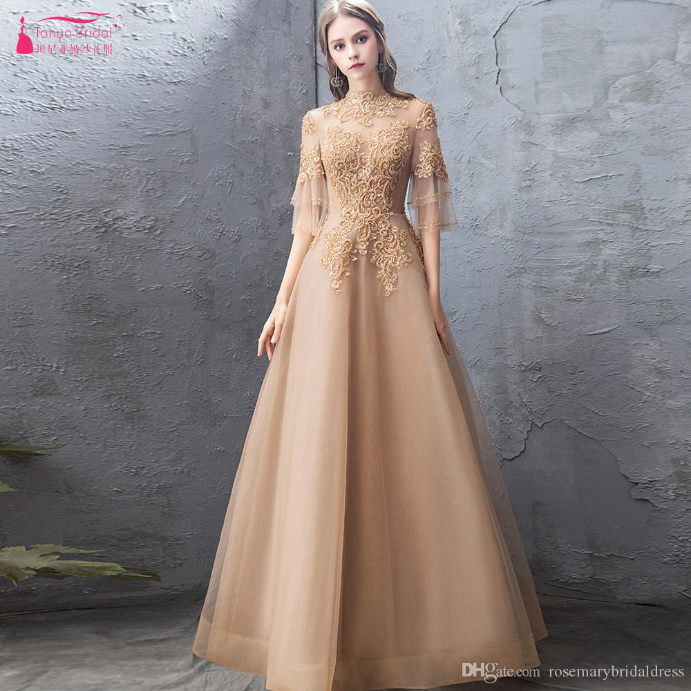 Gold Half Sleeve Evening Dresses 2019 Lace Beaded Floor Length Long