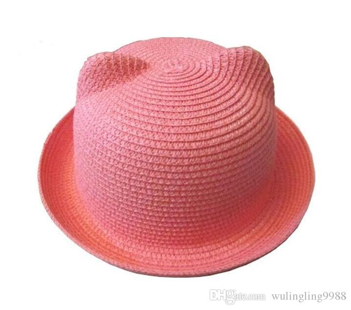 Baby Straw Hat Summer Kids Cat Ear Hats Lovely Beach Cap Children Character Girls Boys Solid Sun Hat Women Men Stingy Brim Hats
