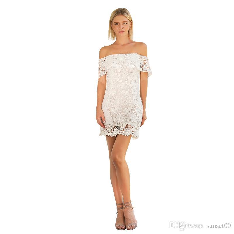 size 40 7978d 84154 Abito donna corto in pizzo senza spalline senza spalline Sexy fiore  stampato Party Night Beach Abito donna corto abito bianco