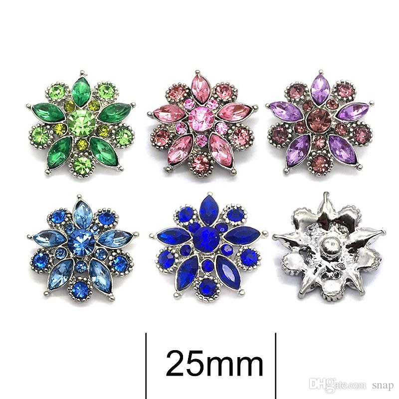 High quality 026 3D 18mm 25mm rhinestone metal snap button for Bracelet Necklace Jewelry For Women Fashion accessorie