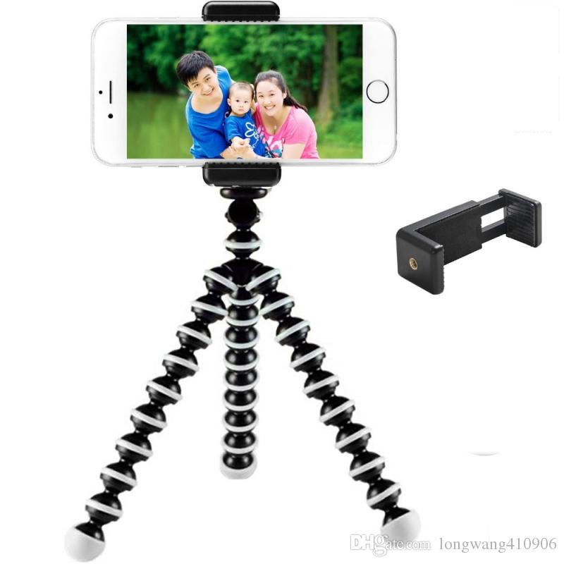 "Unique Design Double 1/4"" Screw Head Connection Mobile Phone Tripod Monopod Holder Adaptor Clip Mount for iPhone 6s 7 plus"