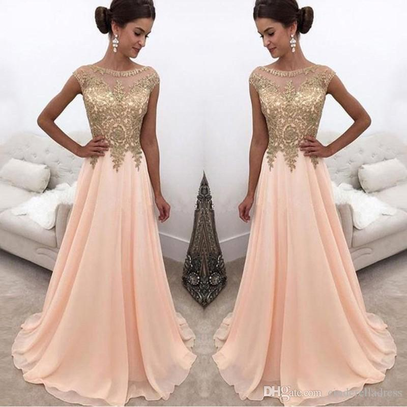 2018 Peach Gold Applique Lace Prom Dresses Cap Sleeves A Line See ...