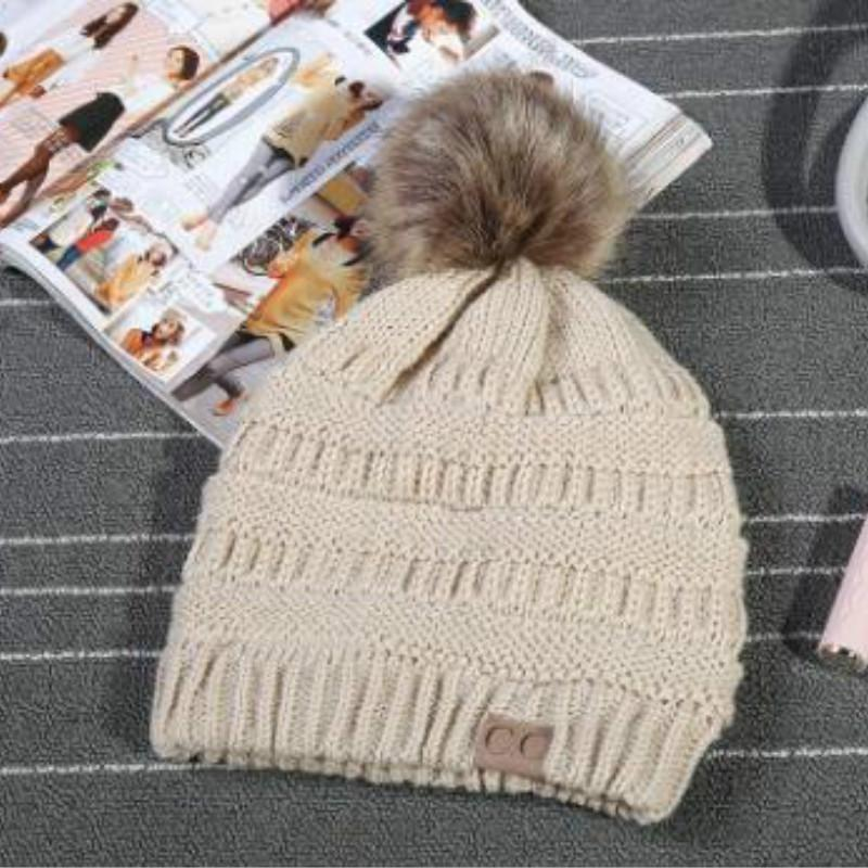 730fa427e87cb 2019 Trendy Fur Pom Pom C.C. Ribbed Beanie Women S Confetti Chunky Stretch  Cable Knit Cc Beanie Hat Skully Winter Hats For Women From Emmanue