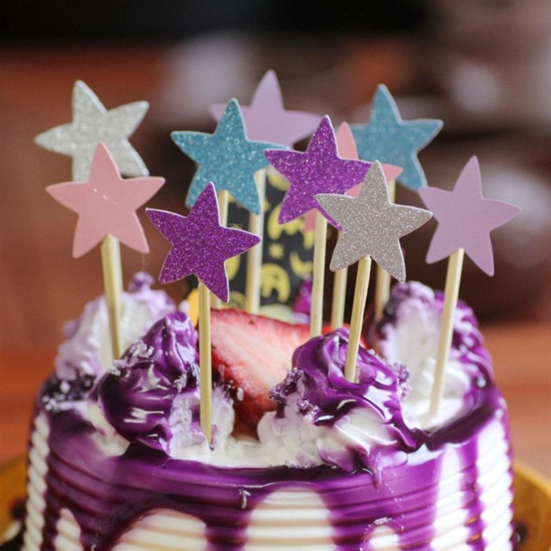 30 шт. блеск бумаги Звезда Кубок торт Топпер выбирает мерцание кекс украшения свадьба baby shower партия выступает mix color