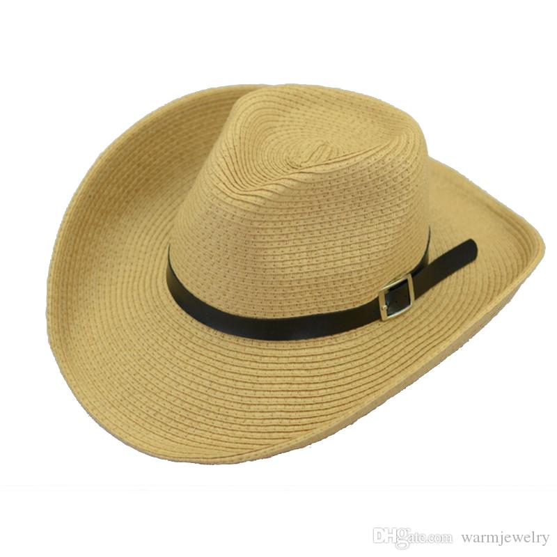 290a4a6d3fcba8 Summer outdoor cowboy hat folding belt buckle straw beach solid color men's  jazz hat hat color mixed batch