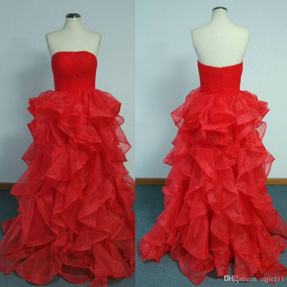 2019 New Spring Red Evening Dresses Real Images Ball Gown Ruffles Evening Gowns Couples Fashion Party Gowns vestidos de novia