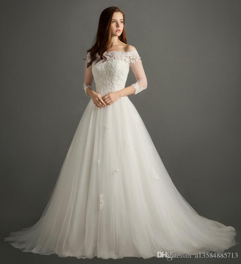compre encaje palabra hombro vestido de novia correa de la cola
