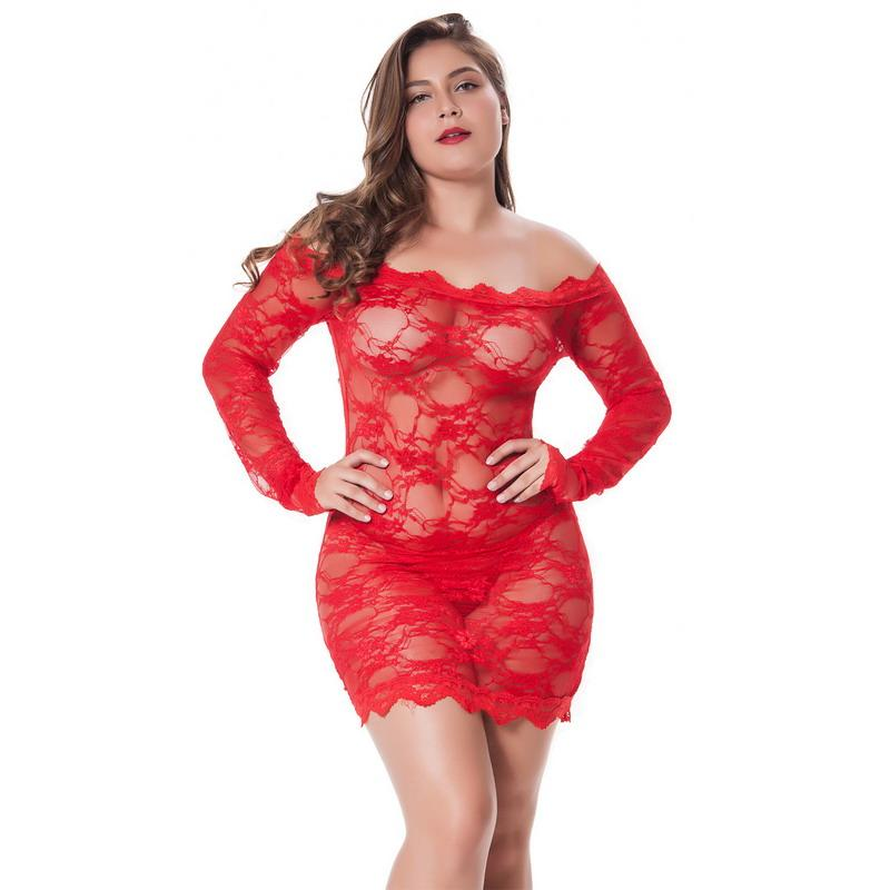 2baffd3c0ca 2019 Sexy Lingerie Lace See Through Babydolls Plus Size Costume Women Long  Sleeve Cold Shoulder Exotic Sleepwear Novelty Lenceria From Nancypeng422