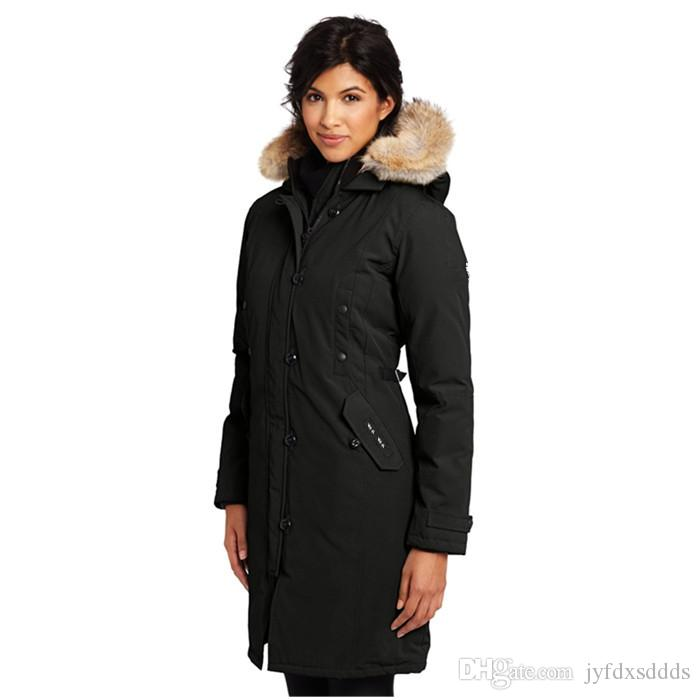 new product 6c6ff 3f838 2018 Canada Femme Bomber Frauen Winter Daunenmantel Mit Fell Kapuze Jacke  Hiver Dicke Warme Winddicht Verdicken Fourrure Mit Kapuze Manteaus Doudoune