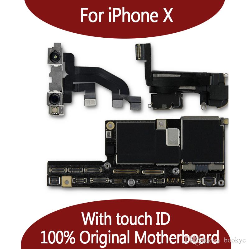 For iPhone X 10 100% Unlocked Original Motherboard With Face ID 64GB 256GB  IOS Logic board With Full Chips Mainboard For Replace