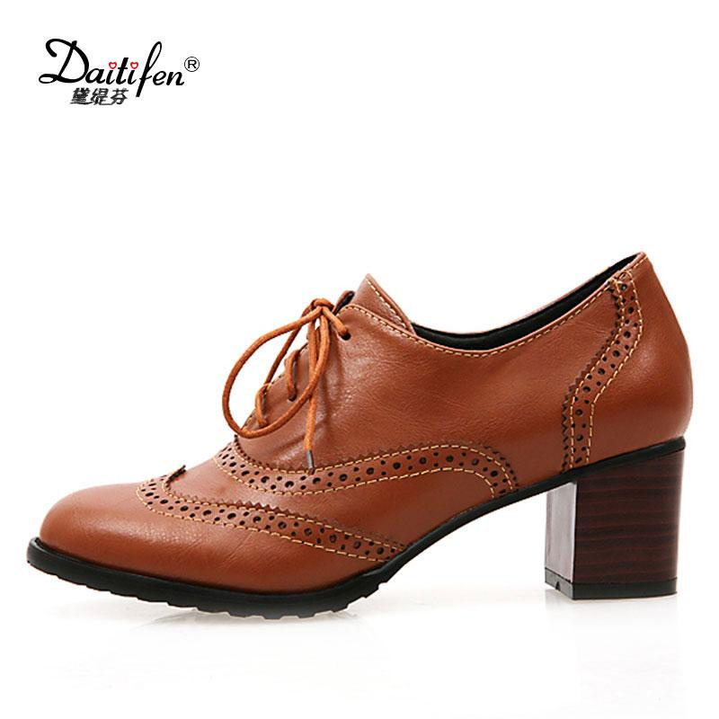 b278f4dd94 Relatively Daitifen Round Toe Lace Up Women Low Heel Oxford Shoes Size 34  43 DP89