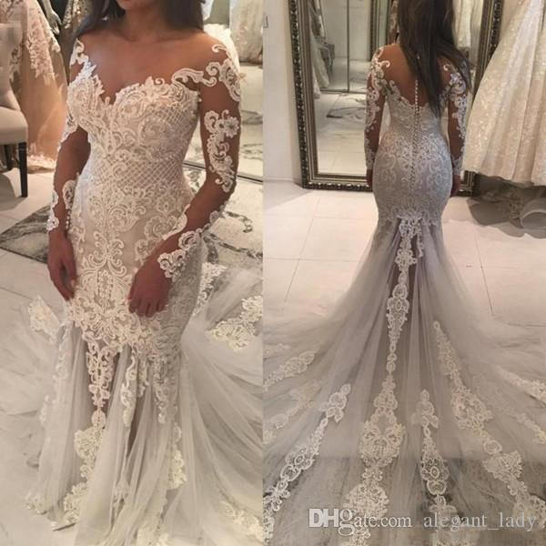 Amazing Lace Pearls Mermaid Long Sleeve Wedding Dresses 2018 Plus Size Berta Sheer Back With Button Sweep Train Fshtail Bridal Gown