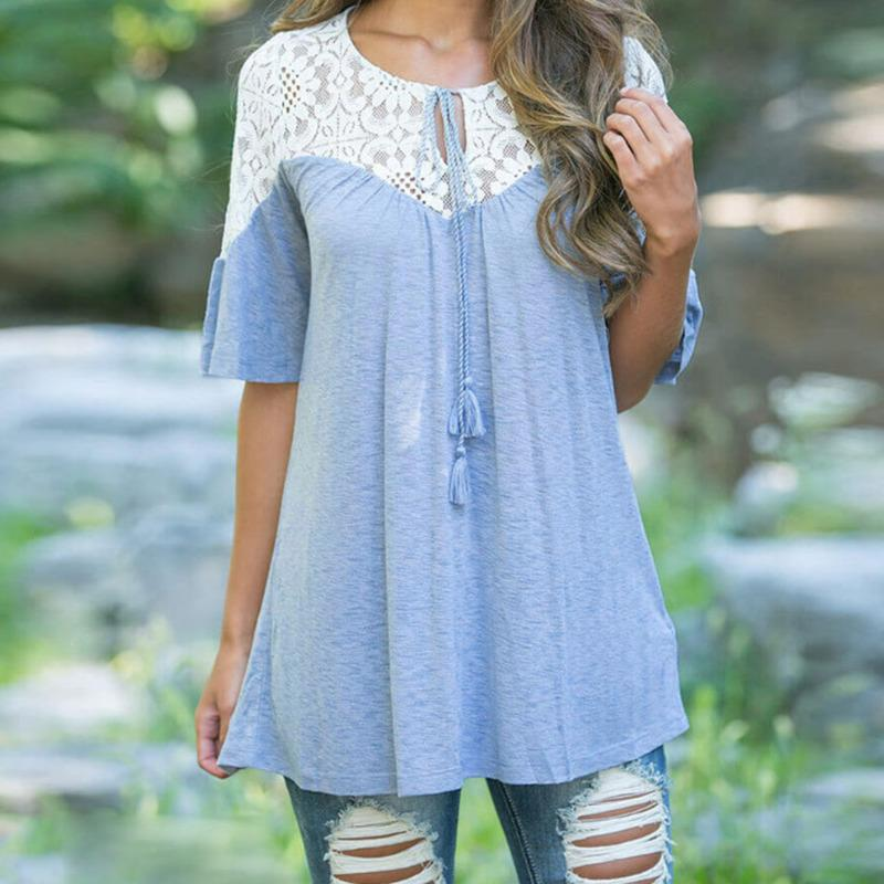 2019 2018 New Summer Style Women S Tops Blouses Lace Splice Loose