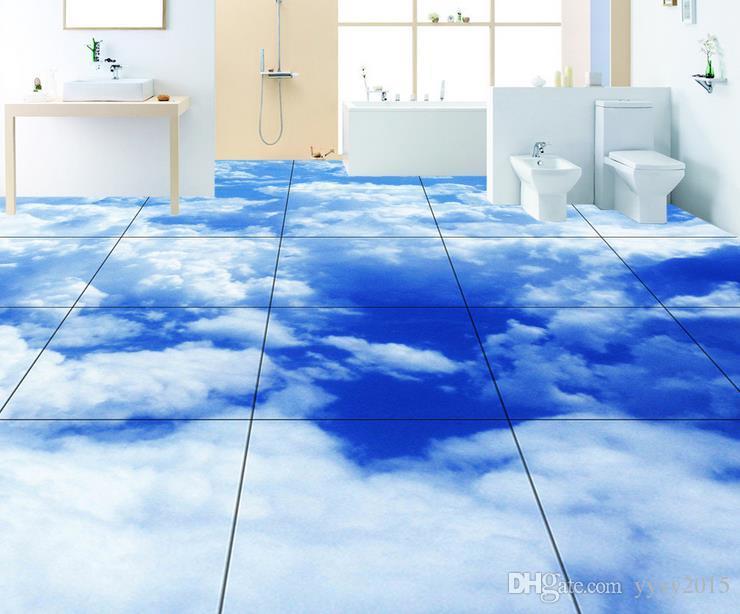 Großhandel Vinyl Bodenbelag Badezimmer Realistische Blaue Weiße ...