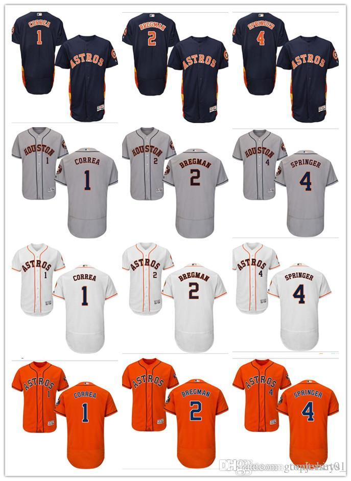 new arrival f4b7c 93a2f custom Men Women Youth Majestic Astros Jersey #1 Carlos Correa 2 Alex  Bregman 4 George Springer Home Red white Kids Baseball Jerseys