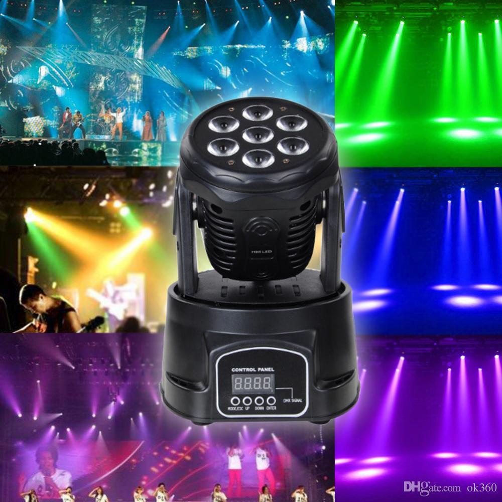 RGBW profesional Color de Mezcla DMX-512 Mini Luz de Cabeza Móvil 7 LED Disco Disco Light Equipo DJ Dmx Led Iluminación Estroboscópica Luz de Escenario