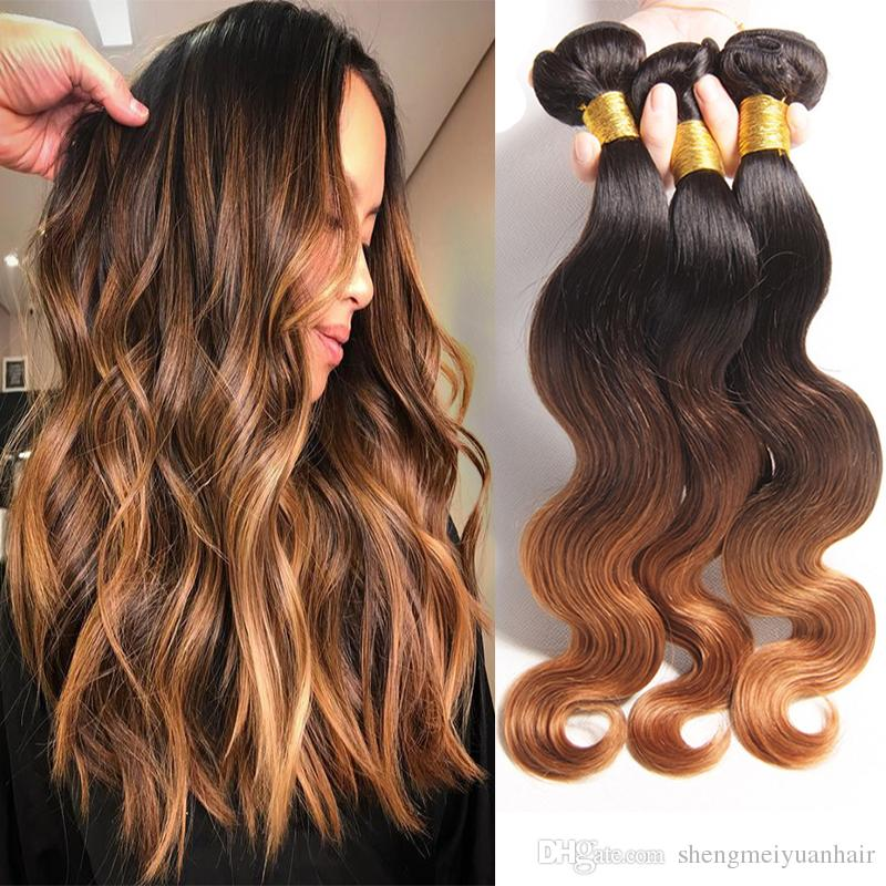 Ombre Indian Human Hair Weave Color 1b440 Body Wave Indian Virgin