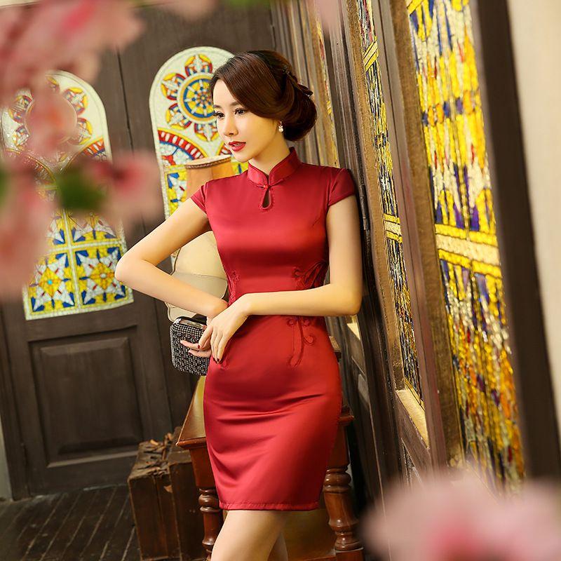 a5c00e98e302c New Chinese Red Women Traditional Dress Silk Satin Qipao Top Mini Cheongsam  Lace Short sleeve qipao dresses FREE SHIPPING