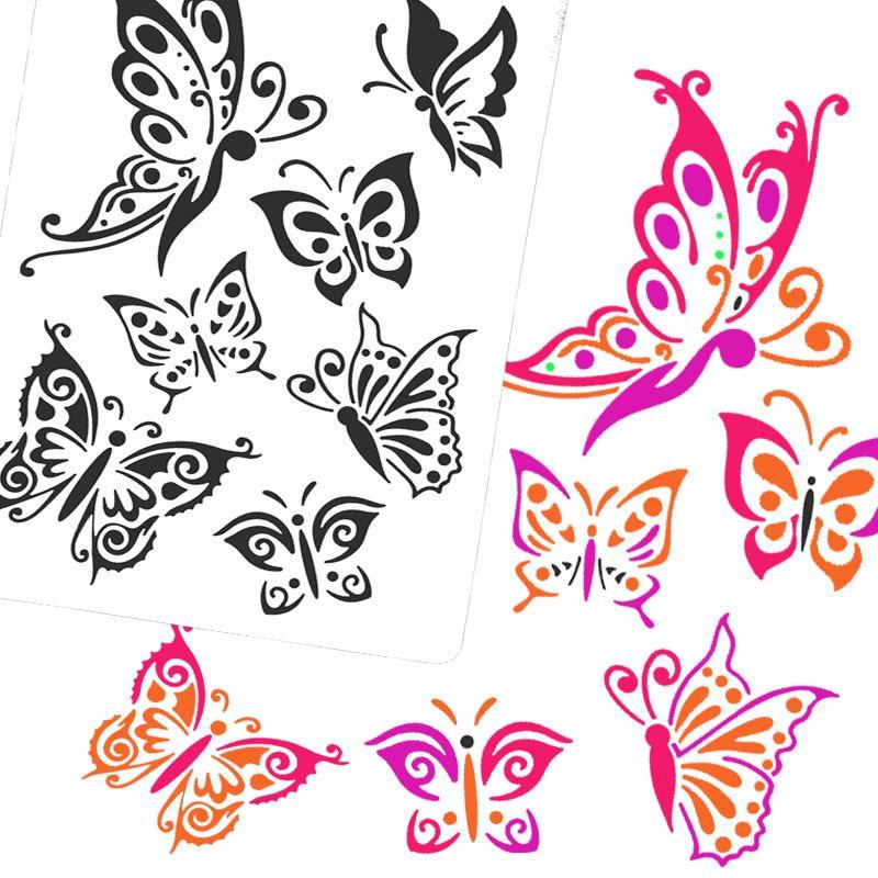Airbrush Stencils & Templates Drawing Tool Body Paint,Woman Kids Cute  Glitter Washing Painting Template Tattoo Stencil 31x21cm
