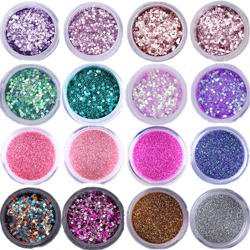 1 Box Hexagon Nagel Glitters Mix Größen Bunte Funkelt Nail Art Pailletten Glitter Für Maniküre Make-up Körper Kunst Diy Dekorationen Nagelglitzer