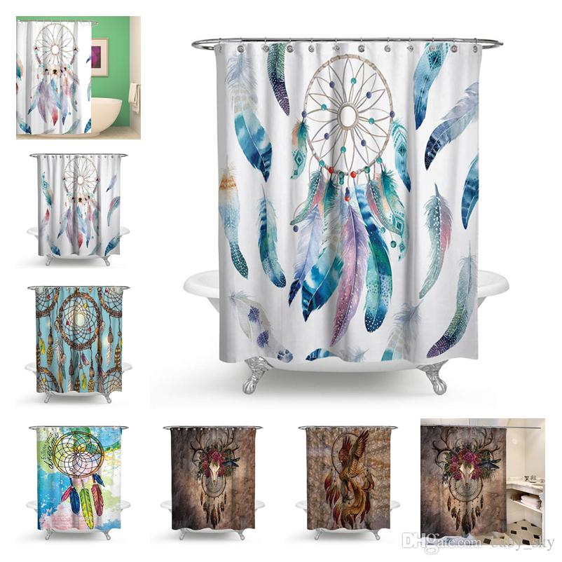 2019 Fashion Dreamcatcher Shower Curtain Classic Dream Net Print Polyester Waterproof Bath European Mix Style Christmas Gift New From Baby Sky