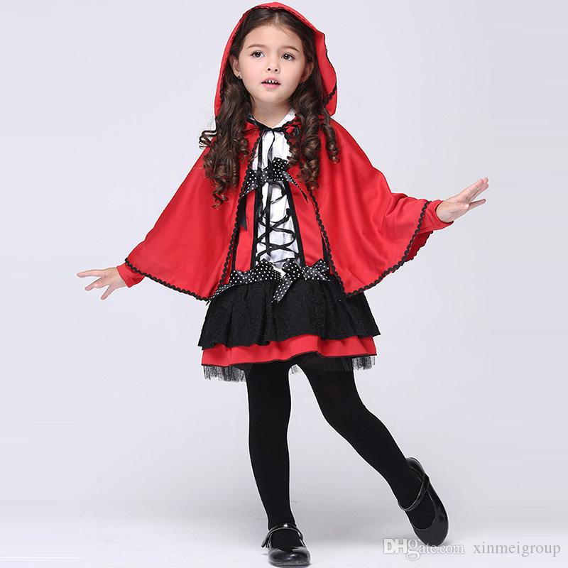 girls halloween costumes children party show costume cloak cape lace bow dress girl red little devil cosplay show w680081 womens halloween costume