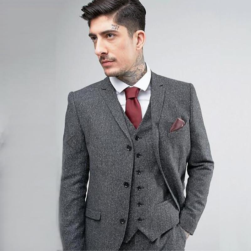 518fdfe80f3 Compre Traje Gris Tweed Trajes De Boda Para Hombres Slim Fit Novio Smoking  Por Encargo Mejor Chaqueta Hombre Blazer 3 Piezas Retro Terno Masculino  Prom A ...
