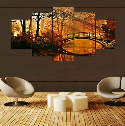 Living Room HD Printed Painting Wall Art Pictures 5 Panel Sunshine Maple Tree Bridge Scenery Modern Home Decor Posters Frame