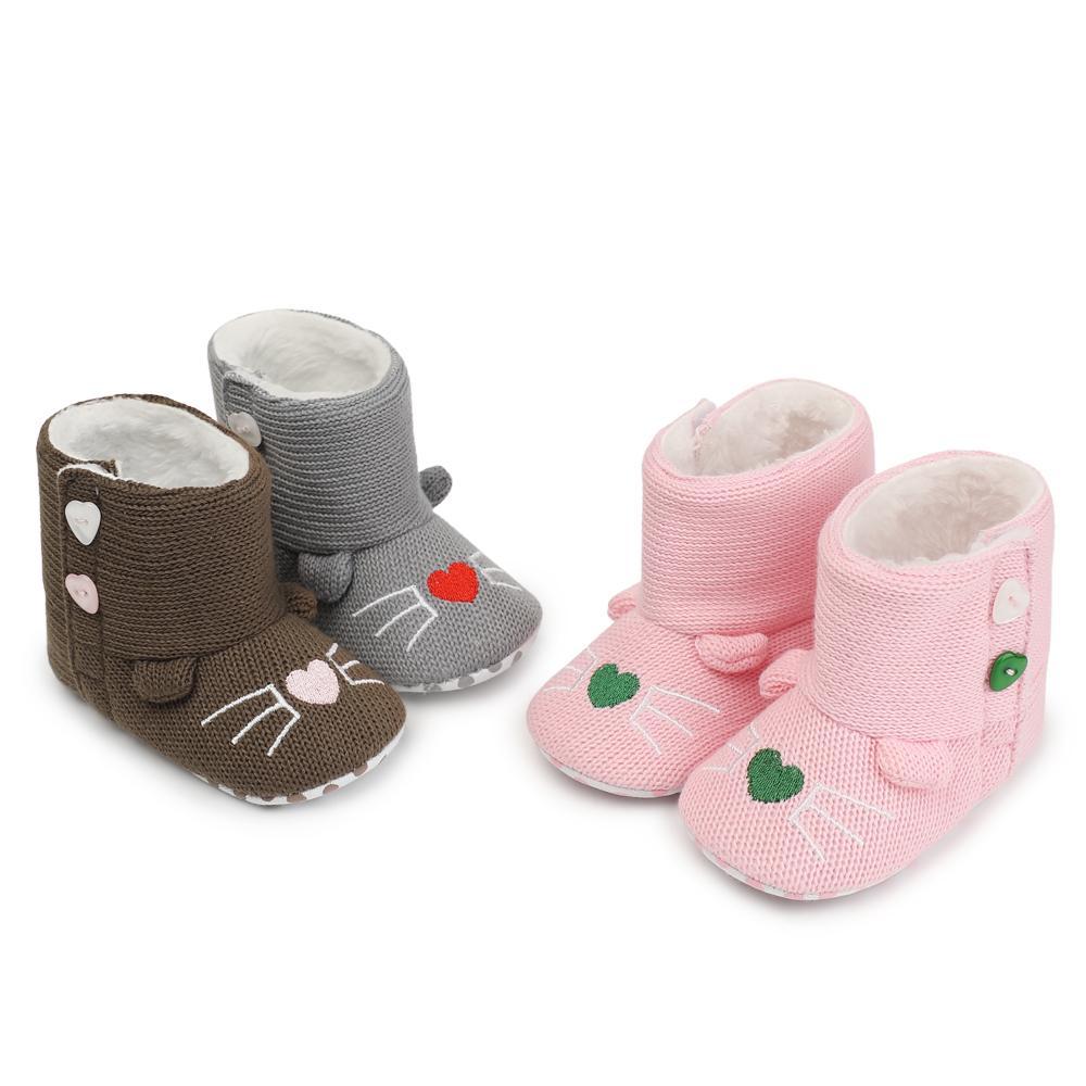 2018 Winter Baby Shoes Newborn Fleece Leather Warm Baby Booties Non
