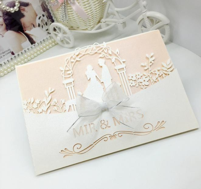 2018 New Bride Groom Wedding Party Invitation Cards Laser Cut