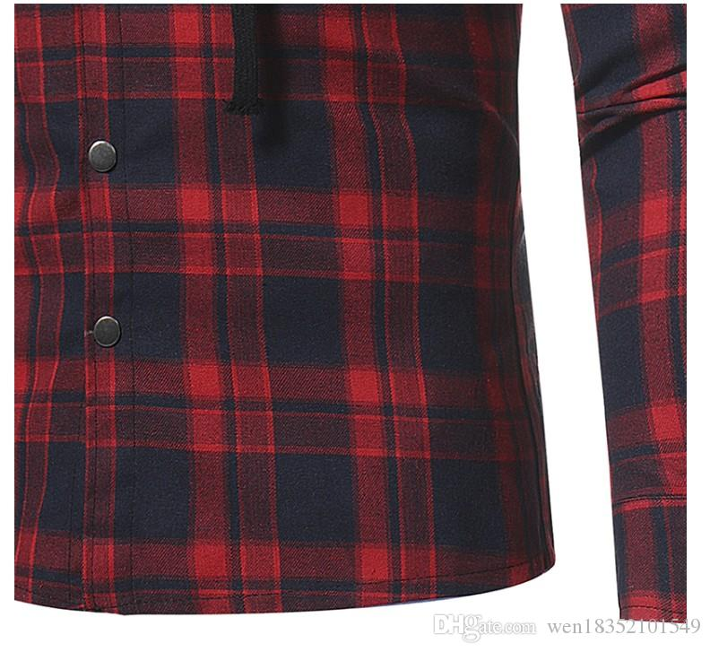 Cross Border Cargo 2017 Nuevo Flannel Latte Doble Pocket Gors Casual Men Style Camisa de manga larga