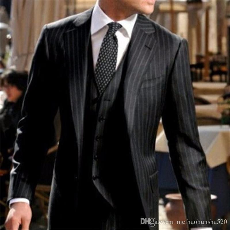 Acheter Noir Rayures Hommes De Mariage Costumes 2017 Nouveau Italien Design Costume  Homme De  80.41 Du Meihaohunsha520  bc9f0332e01