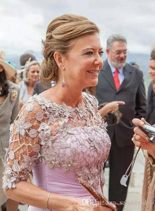 2019 Frauen elegante Lavendel Chiffon Mutter der Braut Kleider Illusion halbe Hülse Spitze bodenlangen Mutter des Bräutigams Kleid nach Maß