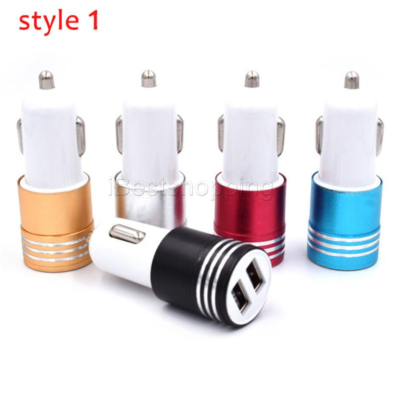 Metal Dual 2-Port USB Car Charger Adapter Universal 12 Volt 1 ~ 2 Amp For iPhone iPad iPod Samsung Cellphones whit Retail Package