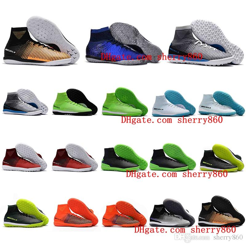 ad1157ba02 2019 MercurialX Proximo II DF Mercurial CR7 Superfly IC Mens Soccer Cleats  Football Soccer Shoes Futsal Indoor Soccer Boots Chuteiras Futebol New From  ...