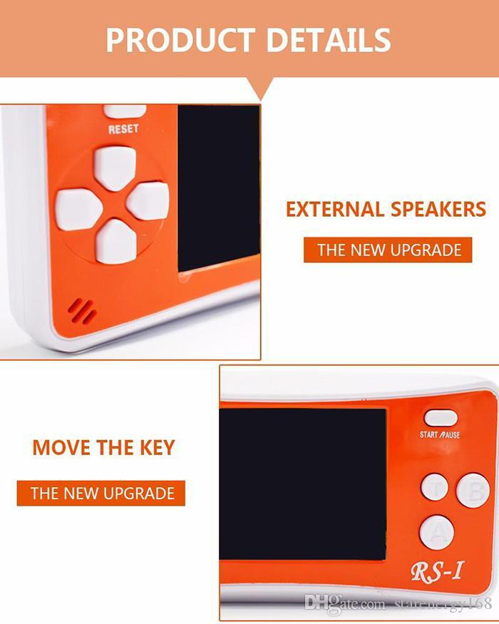 20pcs RS-1 Handheld Game Consoles Mini Protable Game Players Color Video Game Children Gifts Classic Games Box