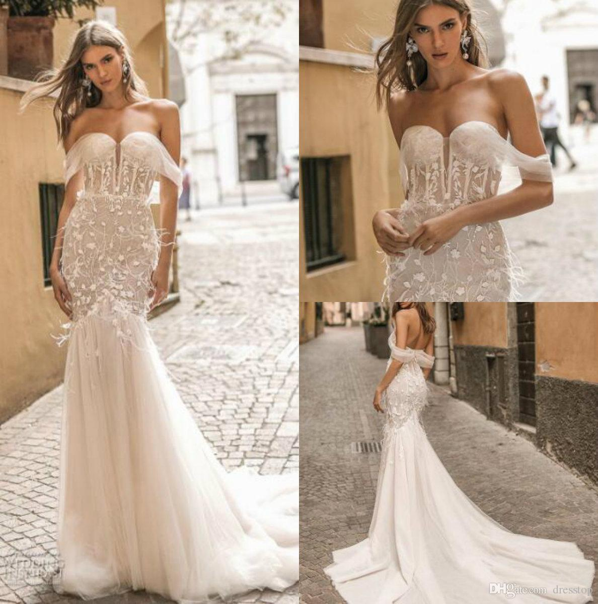 Berta Privee 2019 Wedding Dresses Sexy Off Shoulder Lace Bridal Gowns With Feathers Sweep Train Backless Beach Boho Wedding Dress Custom