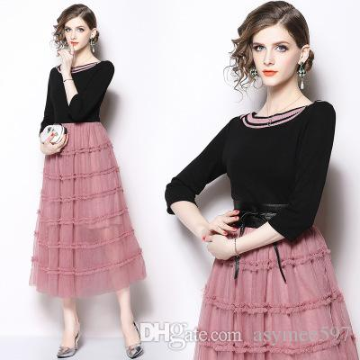 b6156159b06 New Spring And Autumn Women s Panelled And Fungus Style Long Dress ...
