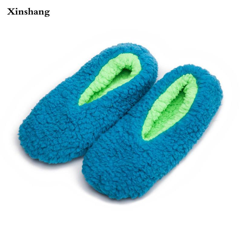 Warm At Home Women Slippers Cotton Shoes Plush Female Floor Shoes ...
