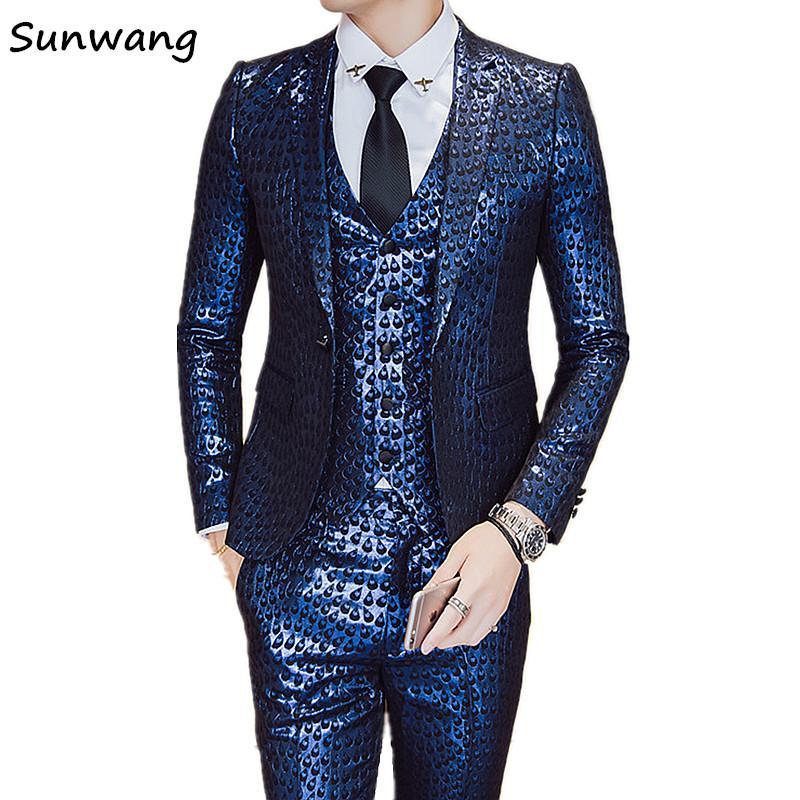 94f3c78afe7 2019 Sunwang New Arrived Sequins Men Wedding Suits 2017 Custom Made Suits  Party Dresses Men Suit Jacket+Vest+Pants Plus Size M 3XL From Sikaku