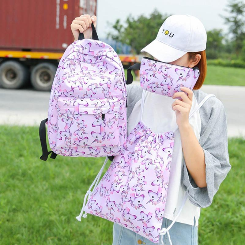 42aac3e78652 Hot Sale  Set Women Printed Unicorn Backpack School Bags For Teenage Girls  Shoulder Drawstring Bags Backpacks For Girls Waterproof Backpack From  Coldend