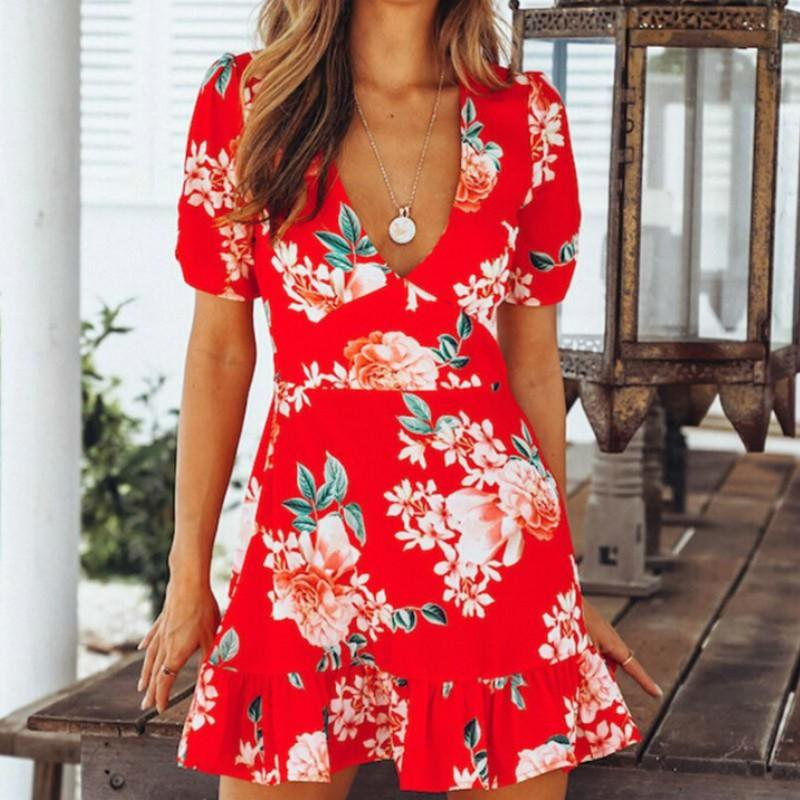 Ruffle Summer Women Deep V Neck Short Floral Print Boho Sleeve Mini Dresses  2018 Casual Beach Femme Short Dress Sundresses Womens Dressing Styles For  Ladies ... 582fc63bbd