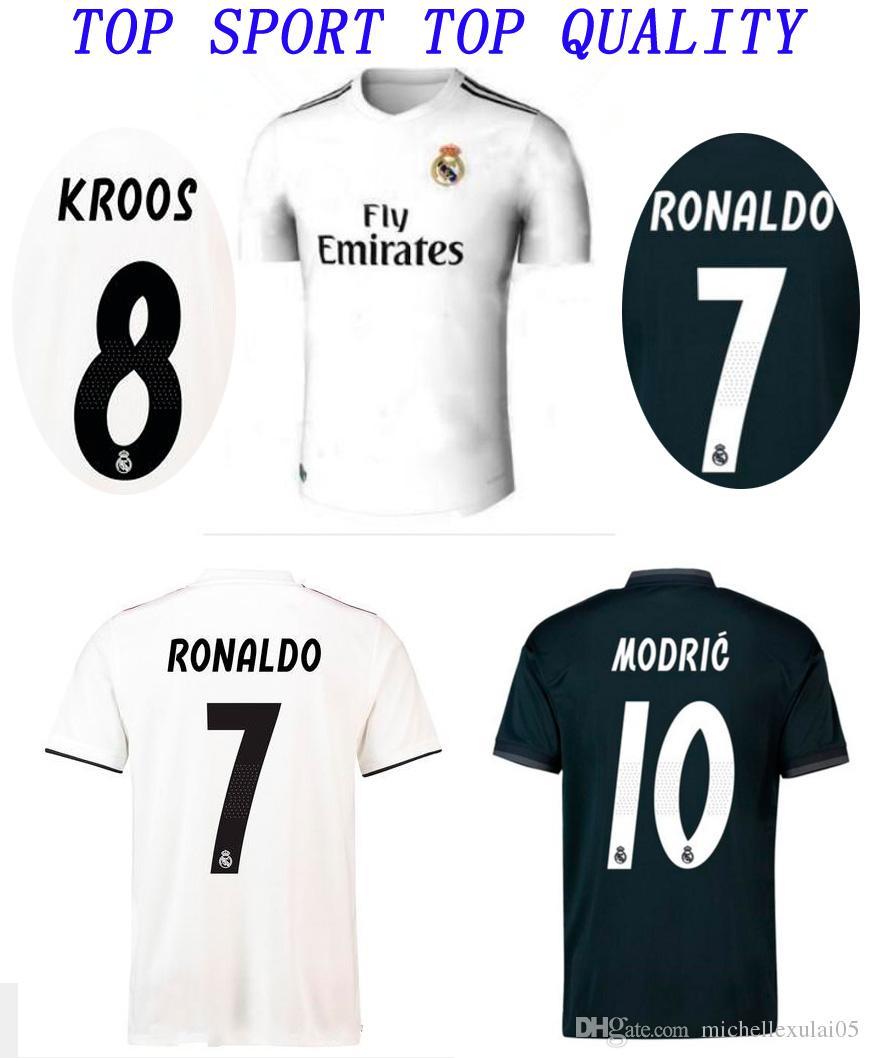 1410db83c2d 2018 2019 Real Madrid Home Away Soccer Jersey RONALDO BALE KROOS Football  Shirts 18 19 ISCO SERGIO RAMOS Football Jersey Adult Sports Wears Real  Madrid ...
