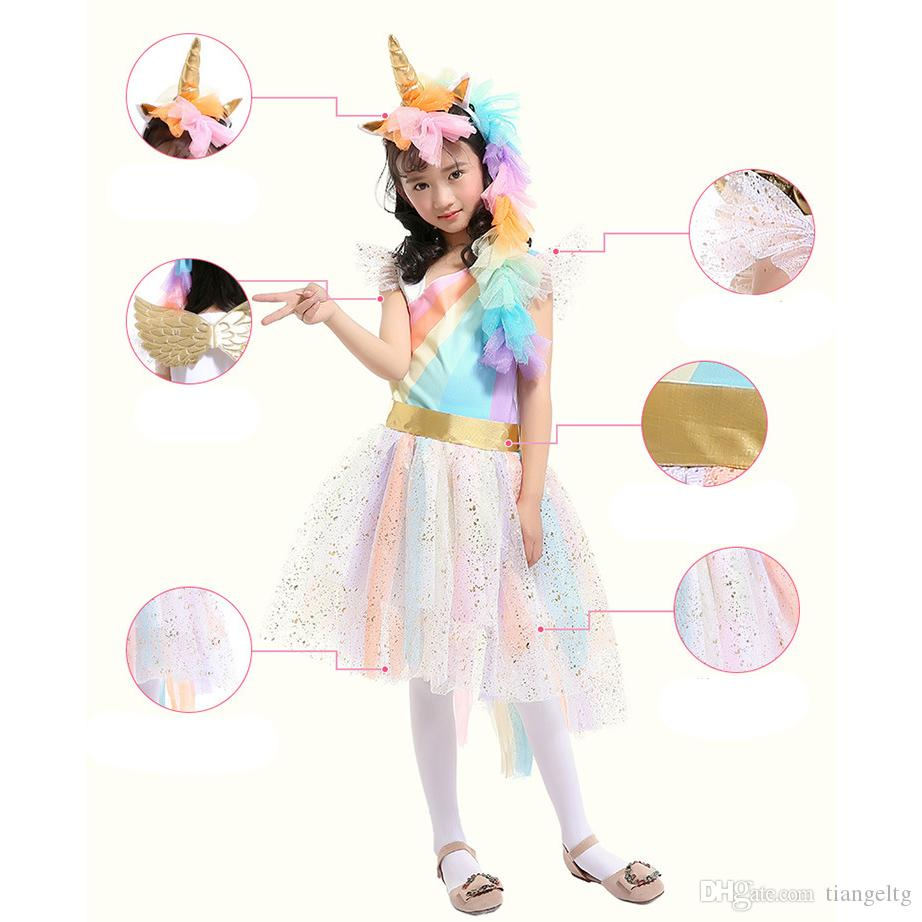 4-7T Girls Rainbow Dress with Unicorn Headband + Angel Wings Lace Tutu Girls Princess Dress Suits Cosplay Clothing Sets TIANGELTG